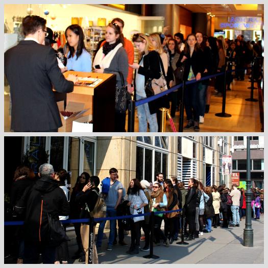 Menschenschlange vor dem Marriott, nachmittags