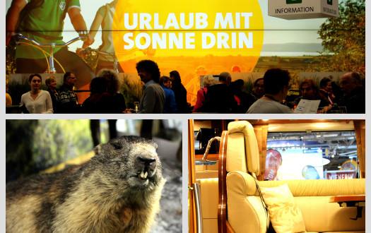 Werbung für Urlaub im Burgenland und Blick in Wohnwagen